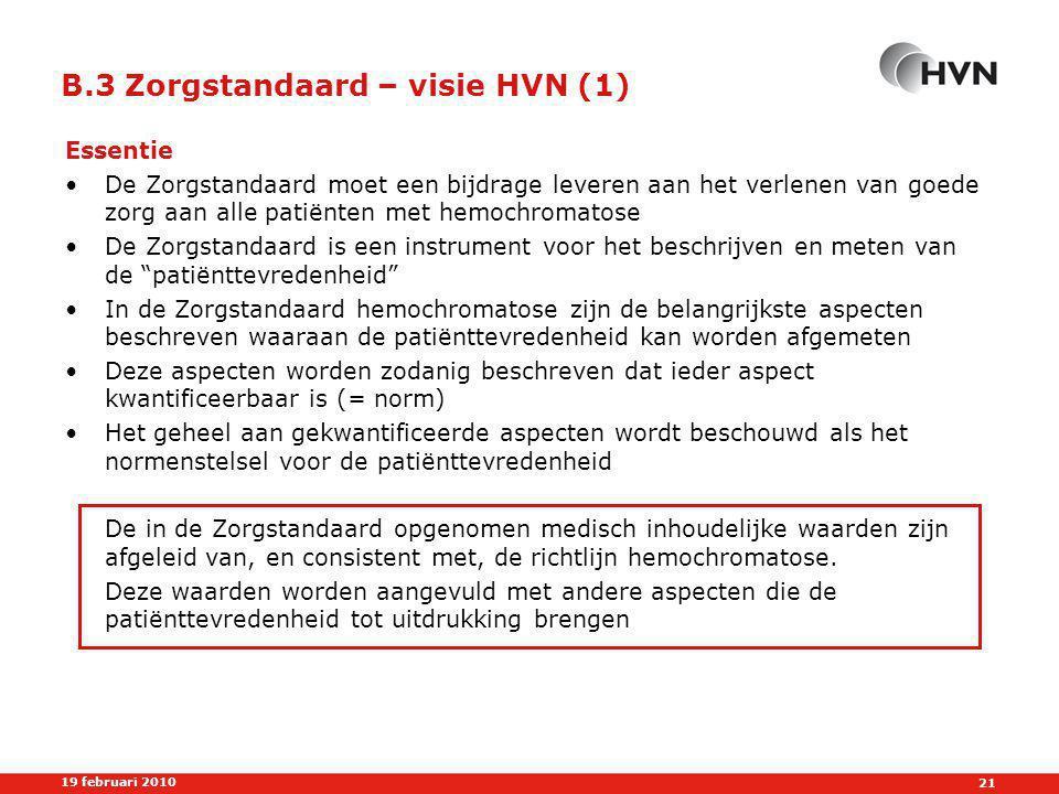 B.3 Zorgstandaard – visie HVN (1)