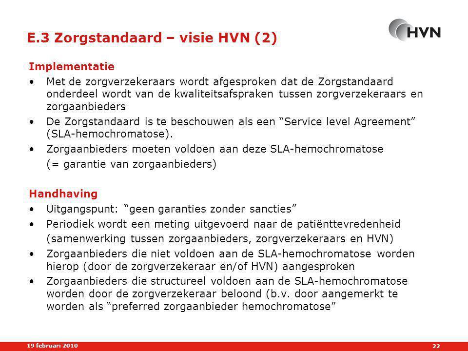 E.3 Zorgstandaard – visie HVN (2)