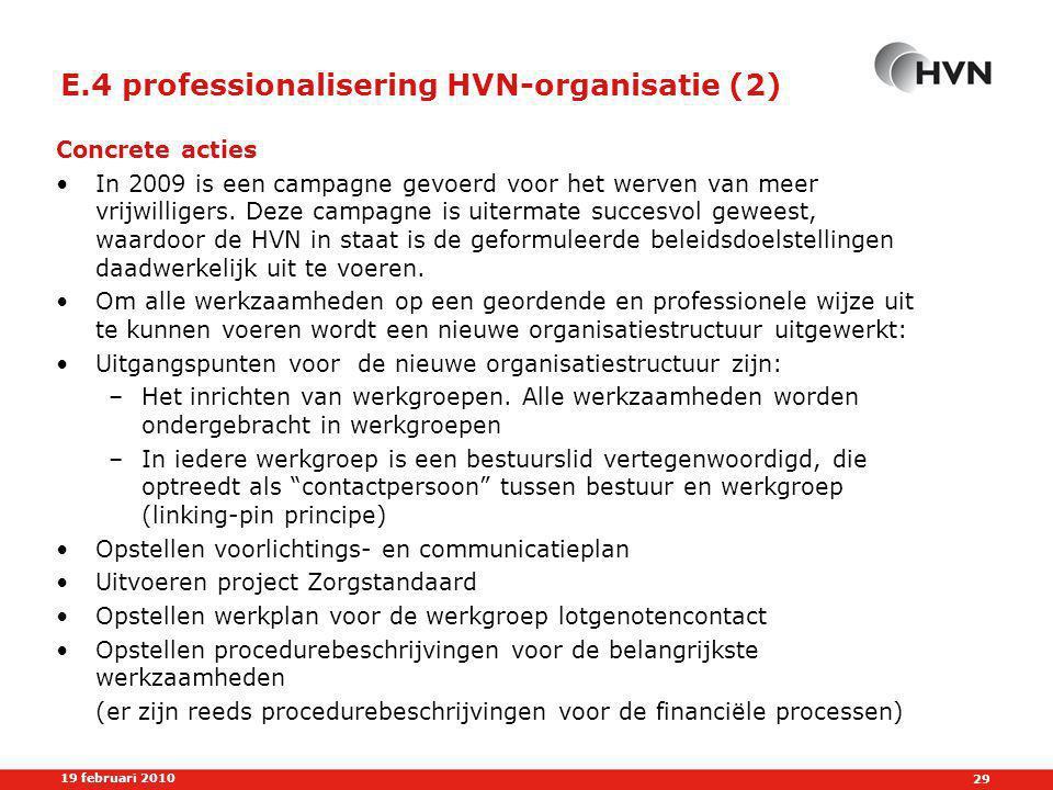 E.4 professionalisering HVN-organisatie (2)