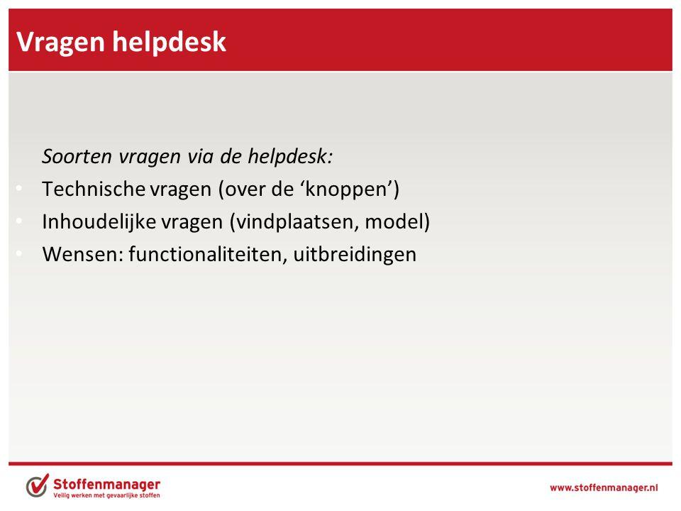 Vragen helpdesk Soorten vragen via de helpdesk: