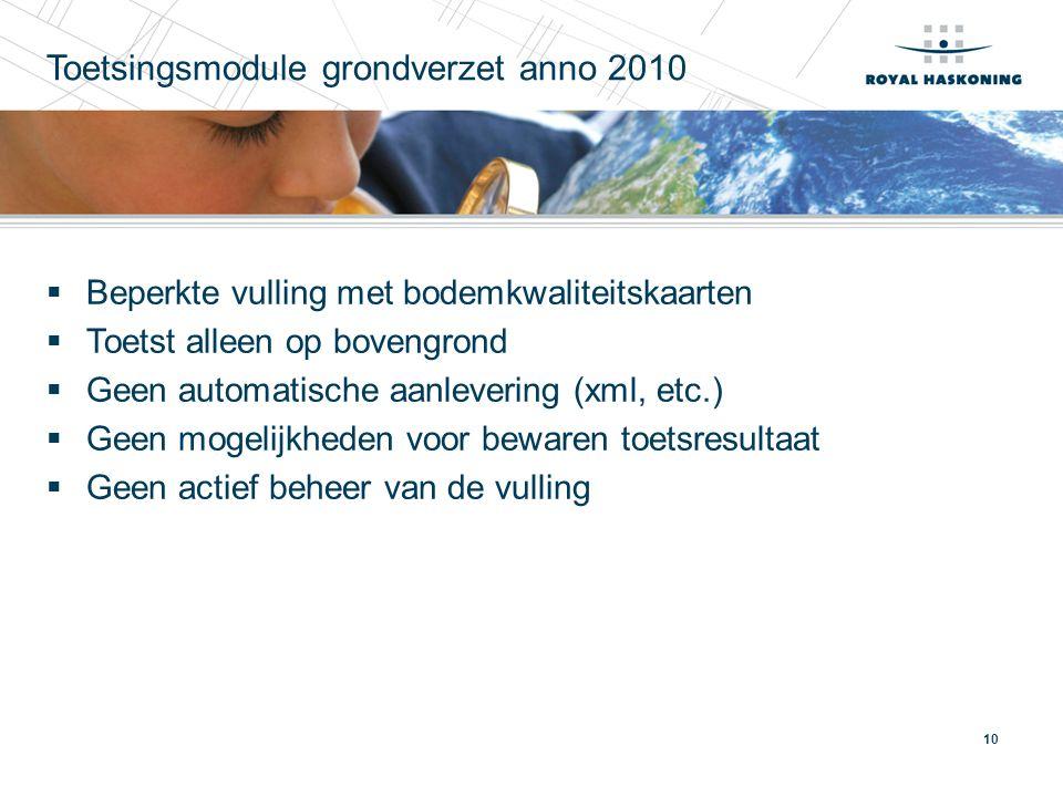 Toetsingsmodule grondverzet anno 2010