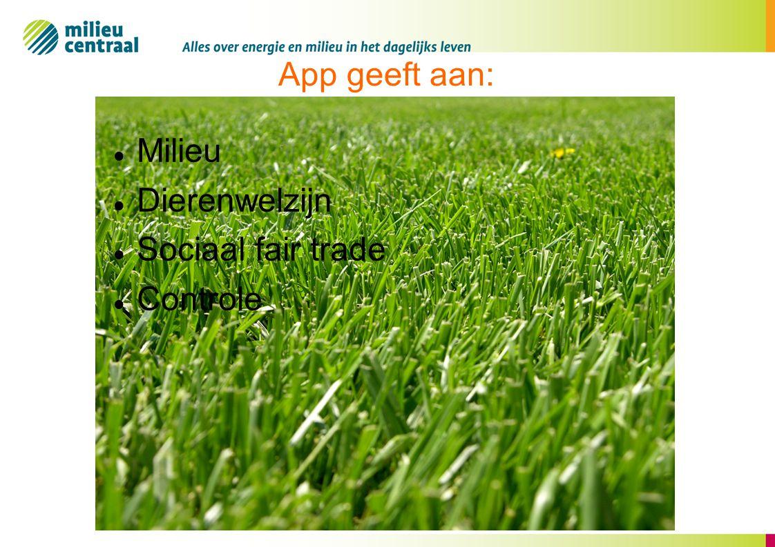 App geeft aan: Milieu Dierenwelzijn Sociaal fair trade Controle