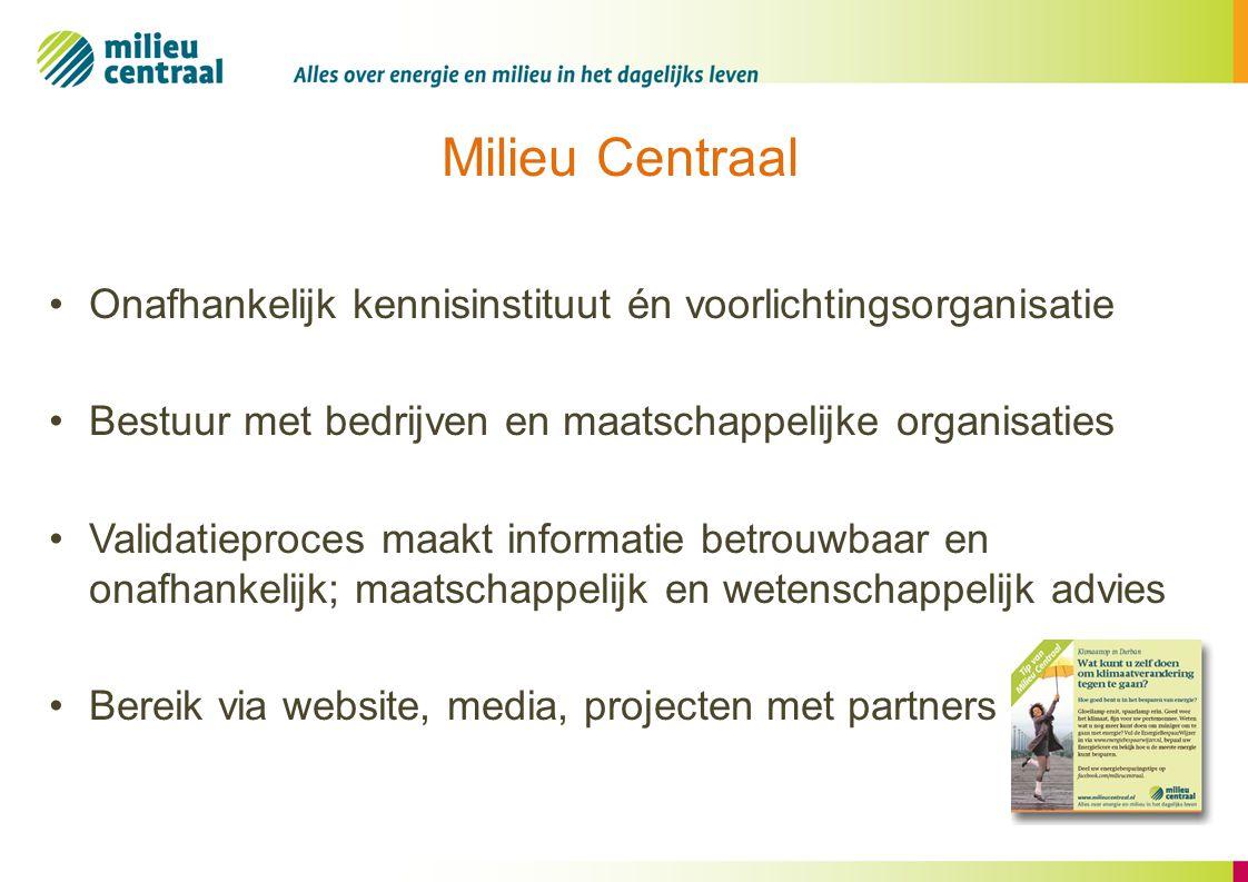 Milieu Centraal Onafhankelijk kennisinstituut én voorlichtingsorganisatie. Bestuur met bedrijven en maatschappelijke organisaties.