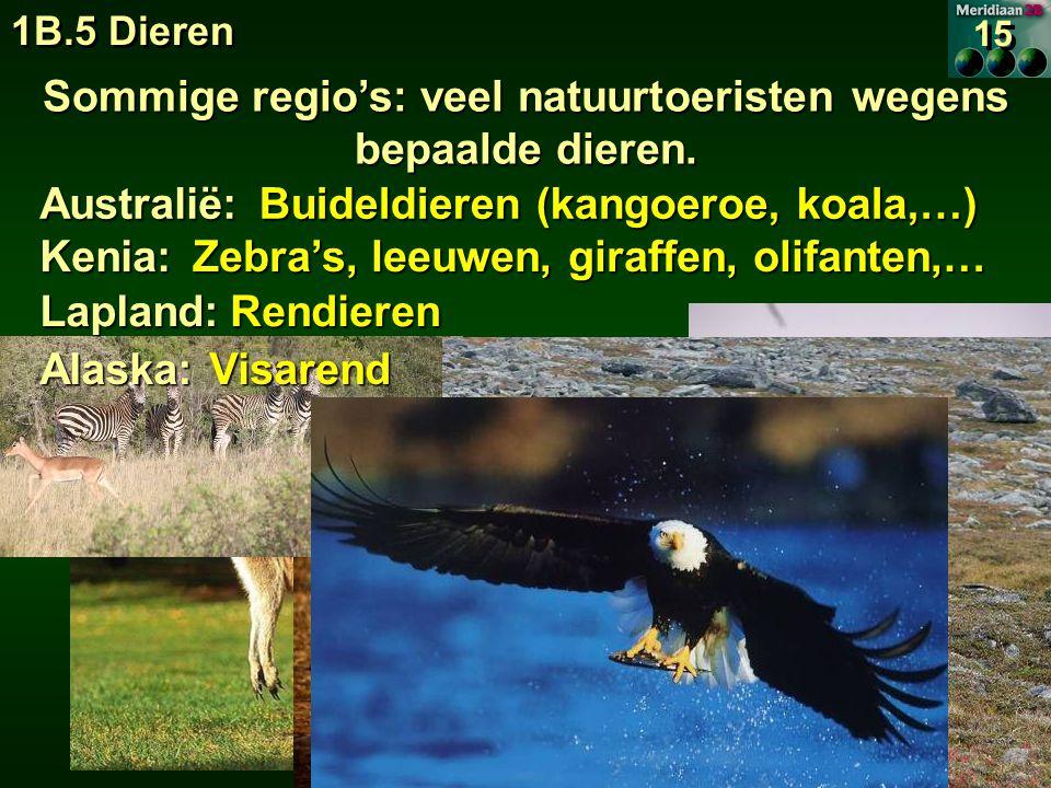 Sommige regio's: veel natuurtoeristen wegens bepaalde dieren.