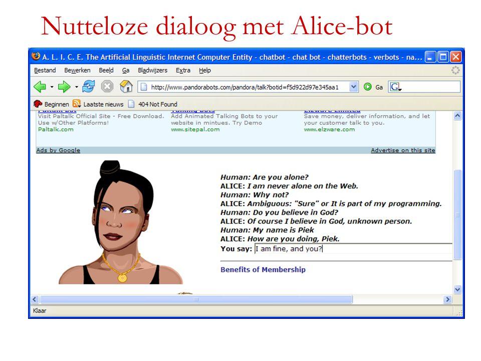 Nutteloze dialoog met Alice-bot