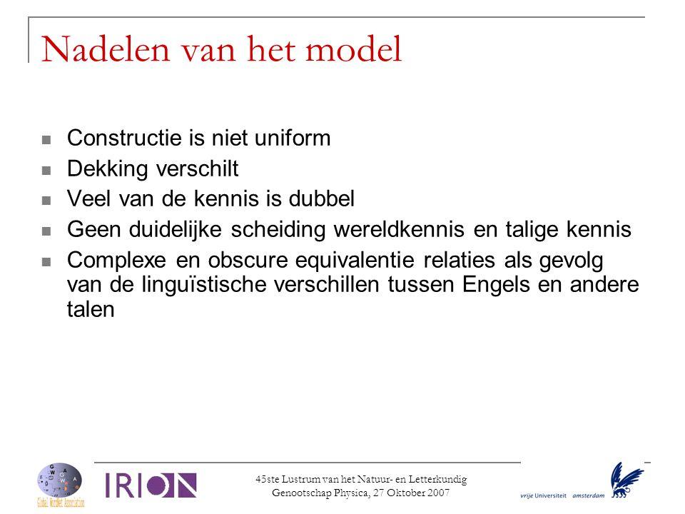 Nadelen van het model Constructie is niet uniform Dekking verschilt