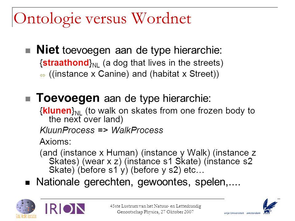 Ontologie versus Wordnet