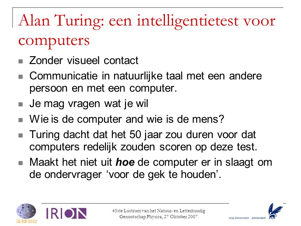 Alan Turing: een intelligentietest voor computers