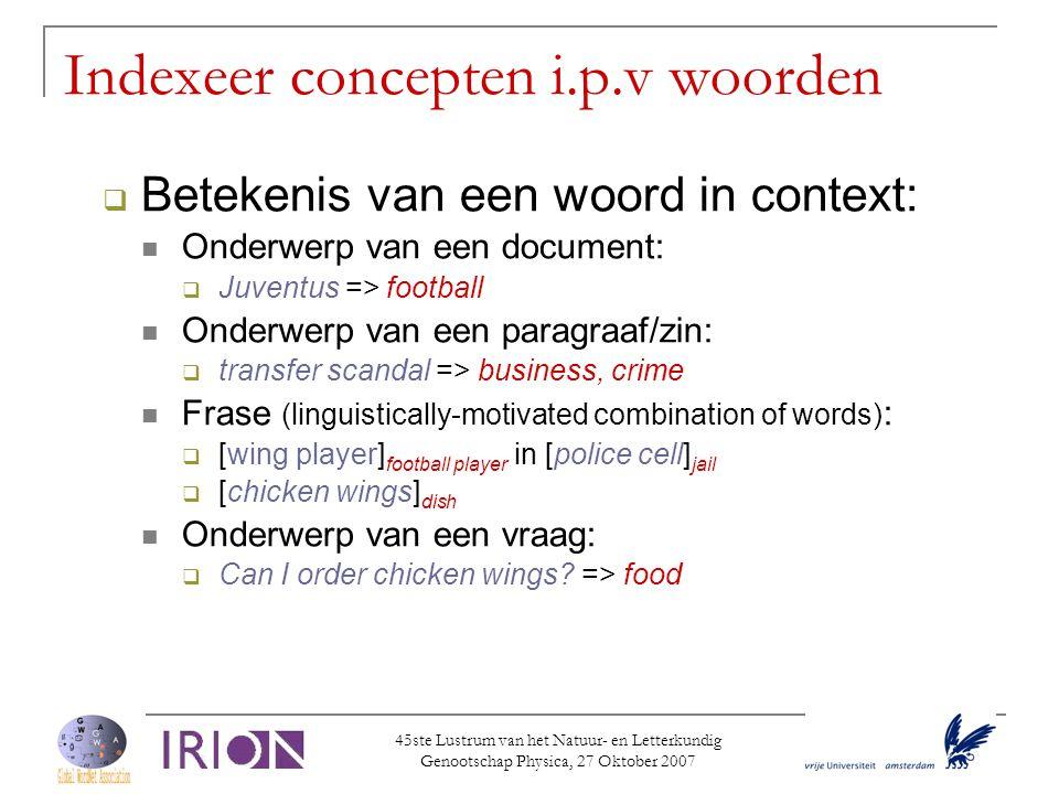 Indexeer concepten i.p.v woorden