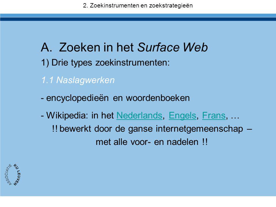 Zoeken in het Surface Web