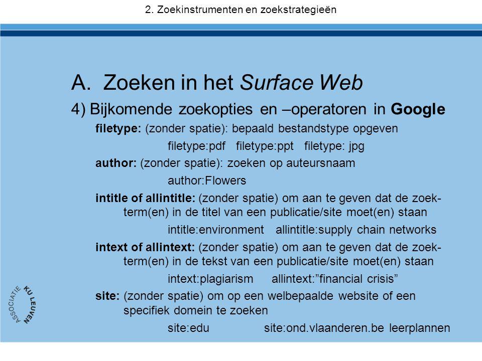 2. Zoekinstrumenten en zoekstrategieën