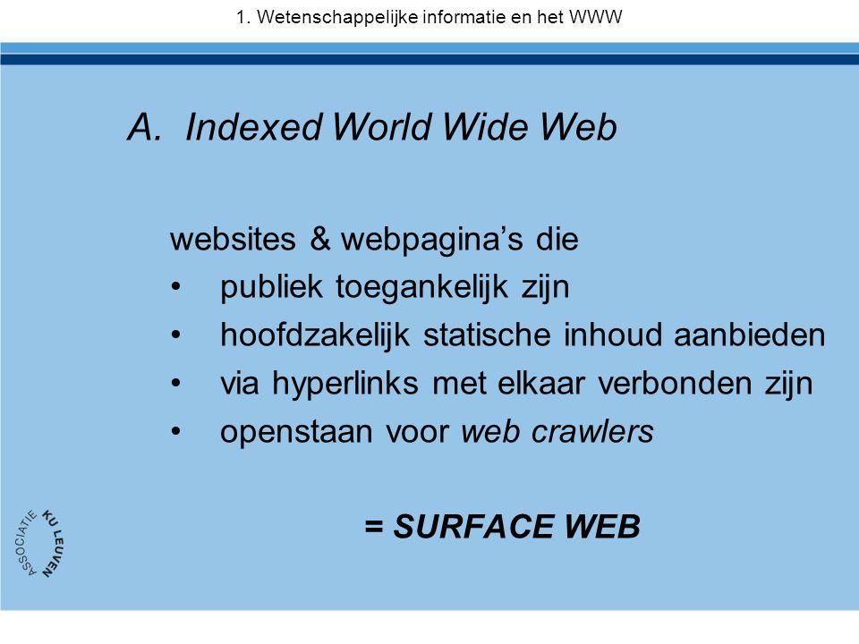 1. Wetenschappelijke informatie en het WWW