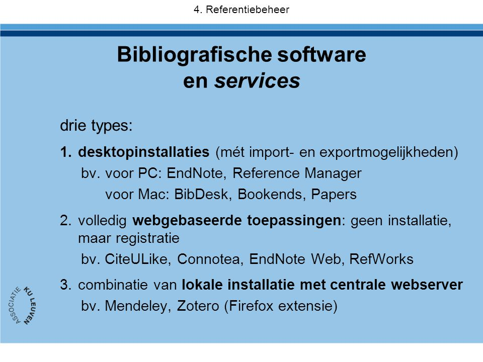 Bibliografische software en services