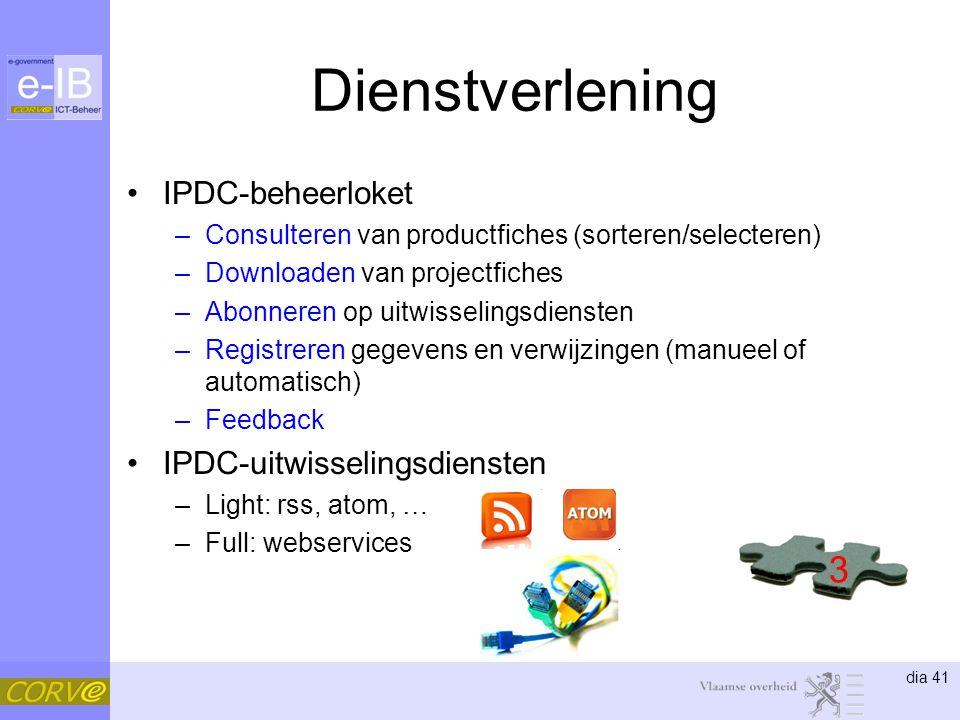 Dienstverlening 3 IPDC-beheerloket IPDC-uitwisselingsdiensten