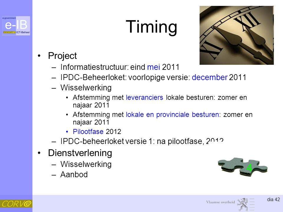 Timing 4 Project Dienstverlening Informatiestructuur: eind mei 2011