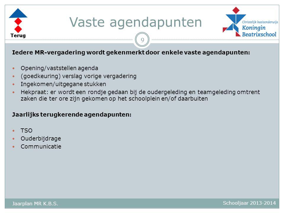 Vaste agendapunten Iedere MR-vergadering wordt gekenmerkt door enkele vaste agendapunten: Opening/vaststellen agenda.