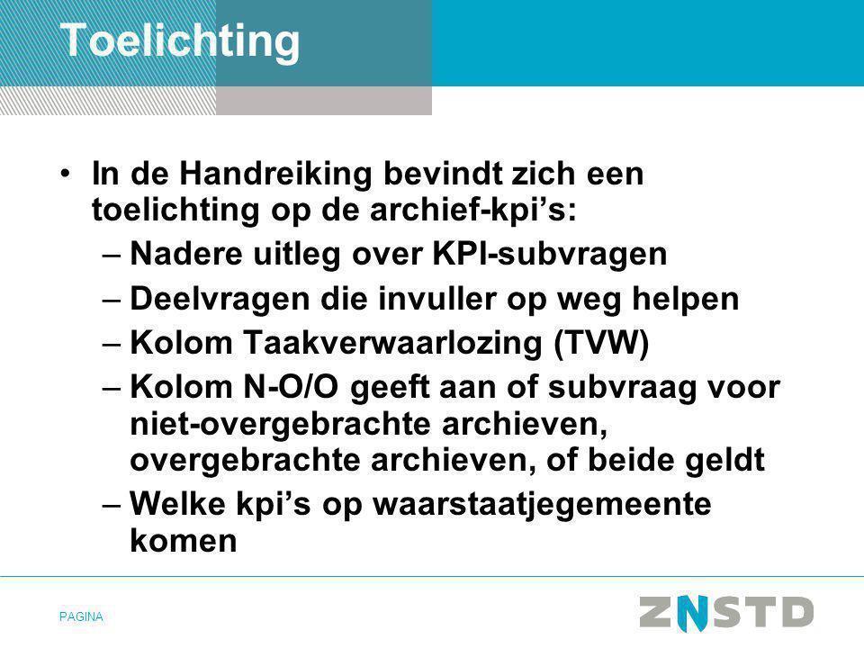 Toelichting In de Handreiking bevindt zich een toelichting op de archief-kpi's: Nadere uitleg over KPI-subvragen.
