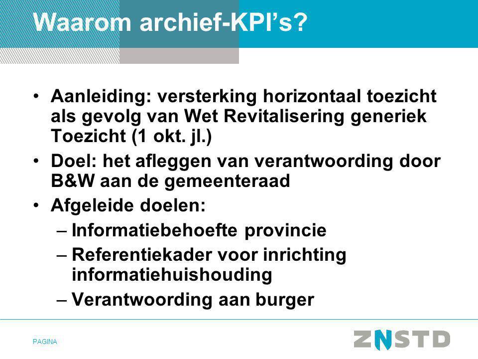 Waarom archief-KPI's Aanleiding: versterking horizontaal toezicht als gevolg van Wet Revitalisering generiek Toezicht (1 okt. jl.)