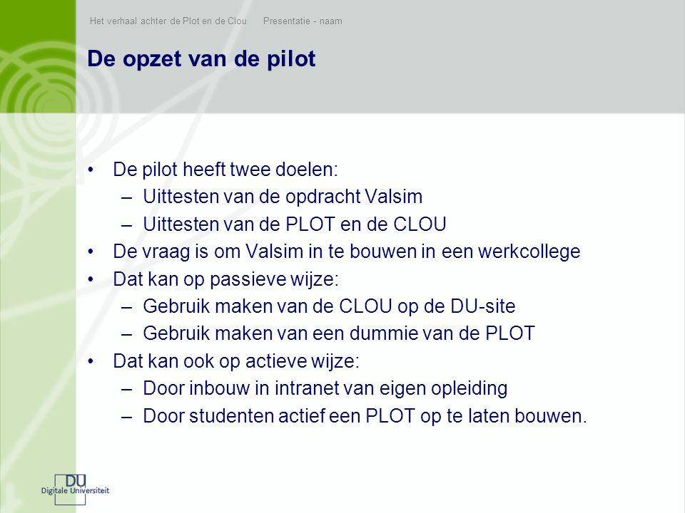 De opzet van de pilot De pilot heeft twee doelen: