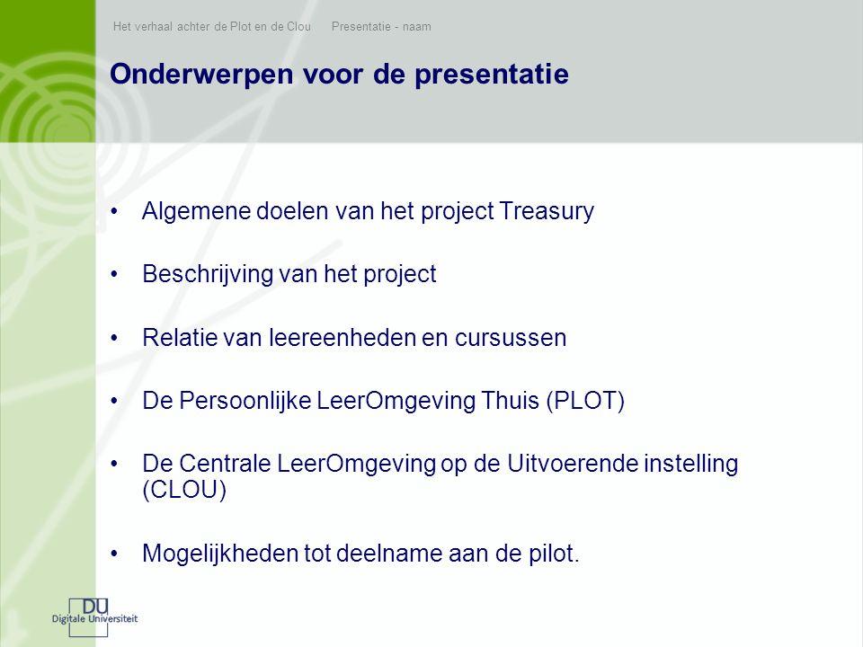 Onderwerpen voor de presentatie