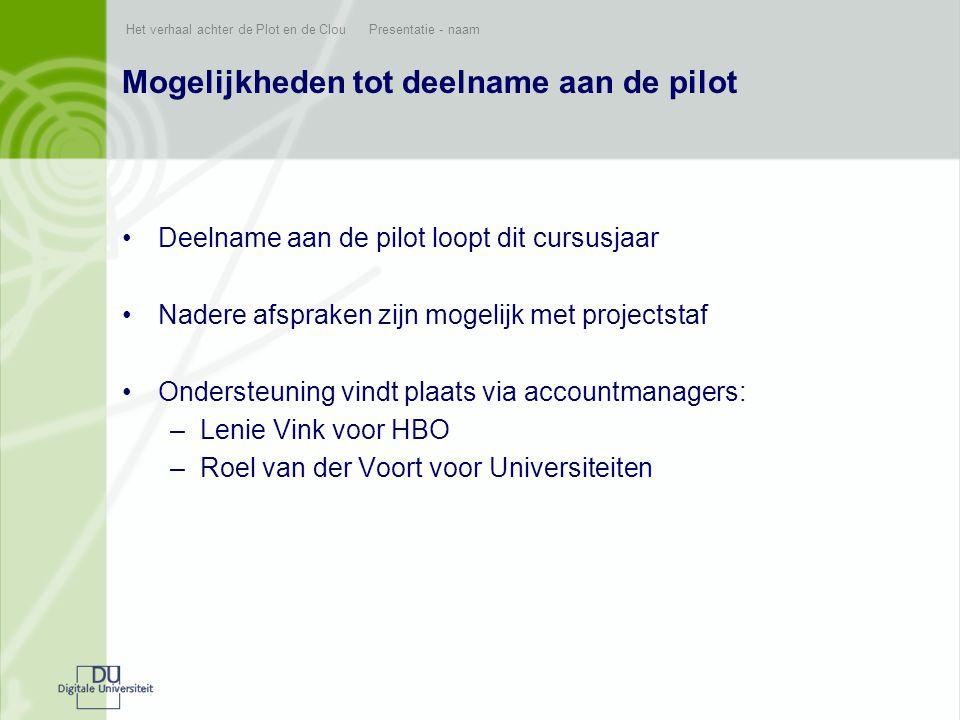Mogelijkheden tot deelname aan de pilot