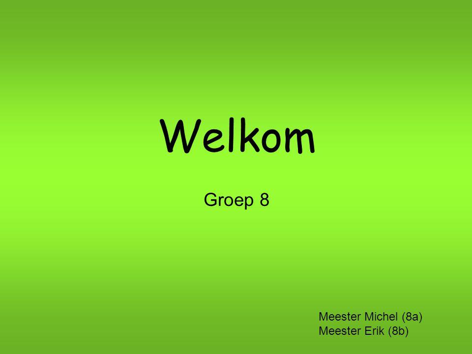 Welkom Groep 8 Meester Michel (8a) Meester Erik (8b)