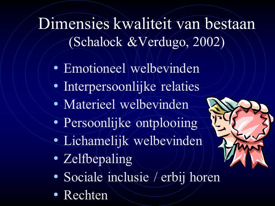 Dimensies kwaliteit van bestaan (Schalock &Verdugo, 2002)