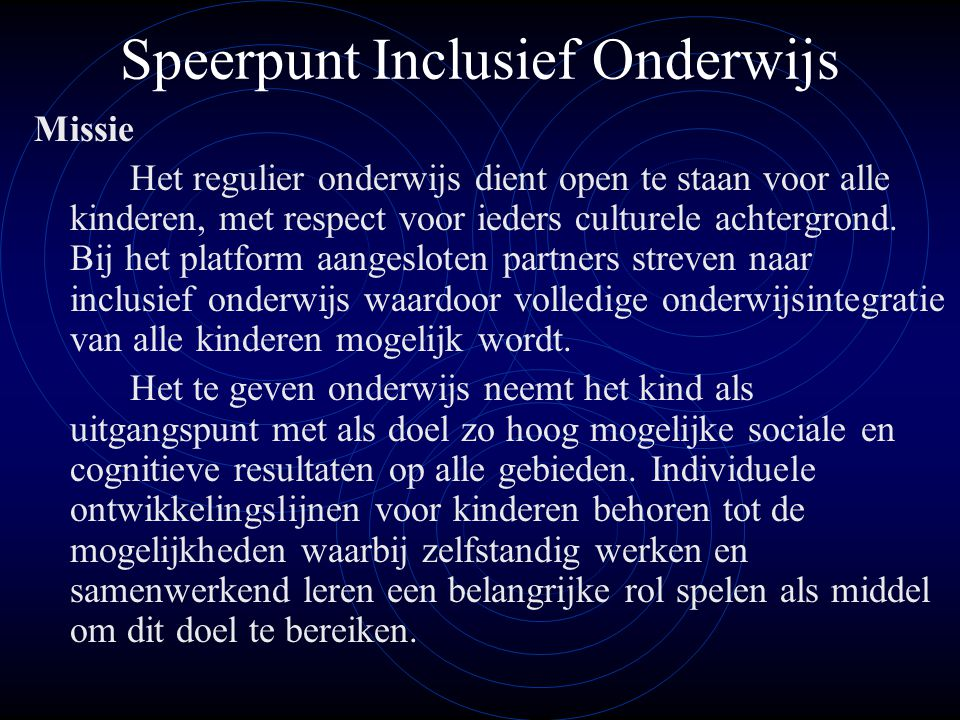 Speerpunt Inclusief Onderwijs