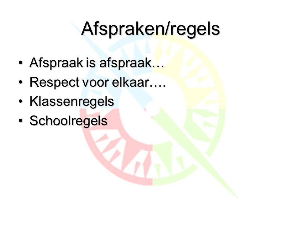 Afspraken/regels Afspraak is afspraak… Respect voor elkaar….