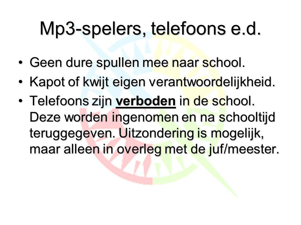 Mp3-spelers, telefoons e.d.