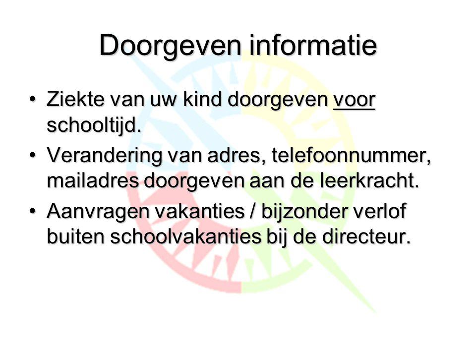 Doorgeven informatie Ziekte van uw kind doorgeven voor schooltijd.