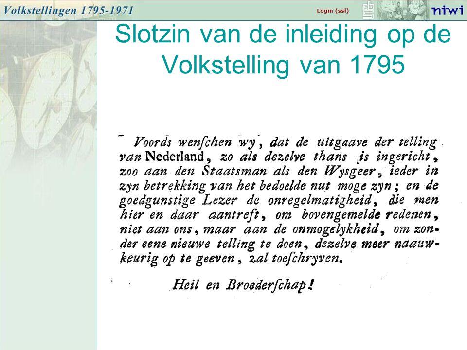 Slotzin van de inleiding op de Volkstelling van 1795