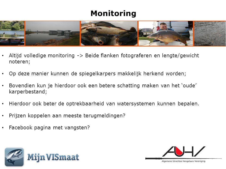 Monitoring Altijd volledige monitoring -> Beide flanken fotograferen en lengte/gewicht noteren;