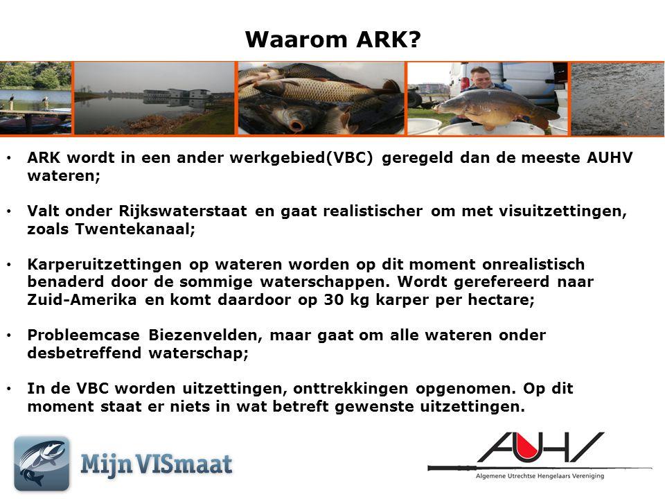 Waarom ARK ARK wordt in een ander werkgebied(VBC) geregeld dan de meeste AUHV wateren;