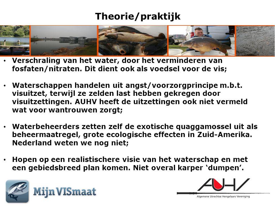 Theorie/praktijk Verschraling van het water, door het verminderen van fosfaten/nitraten. Dit dient ook als voedsel voor de vis;