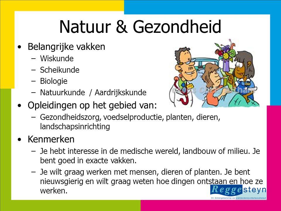 Natuur & Gezondheid Belangrijke vakken Opleidingen op het gebied van:
