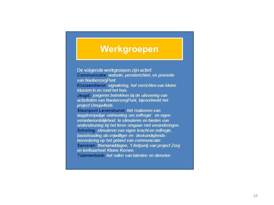 Werkgroepen De volgende werkgroepen zijn actief: