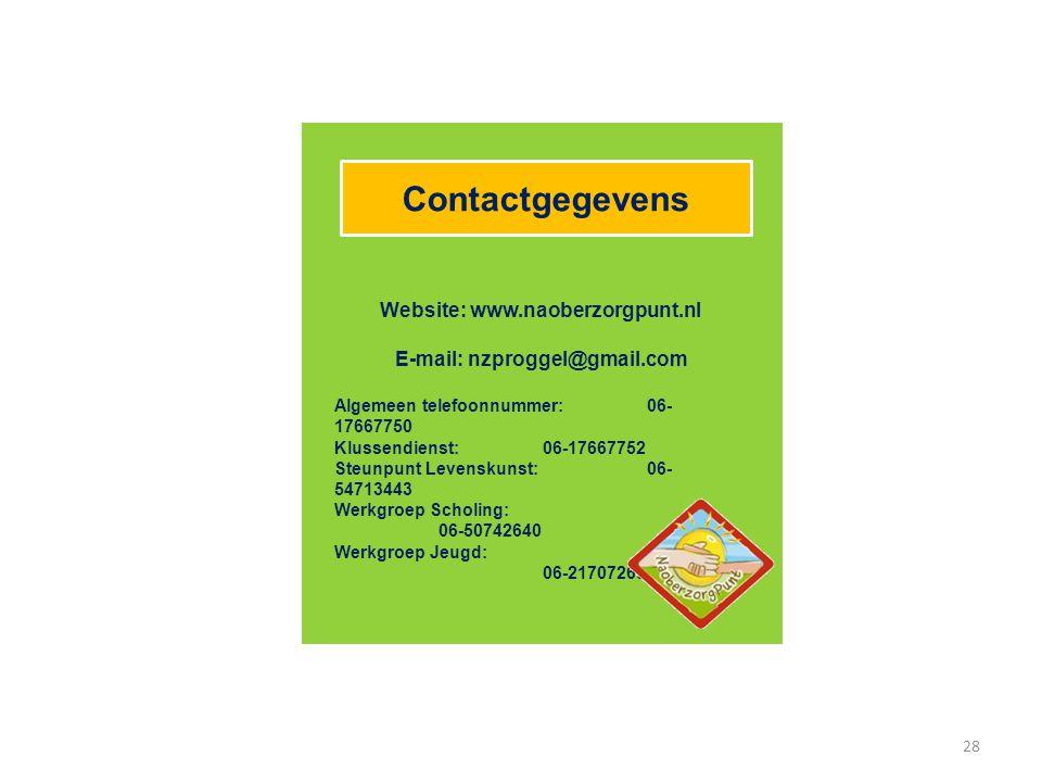 Website: www.naoberzorgpunt.nl E-mail: nzproggel@gmail.com
