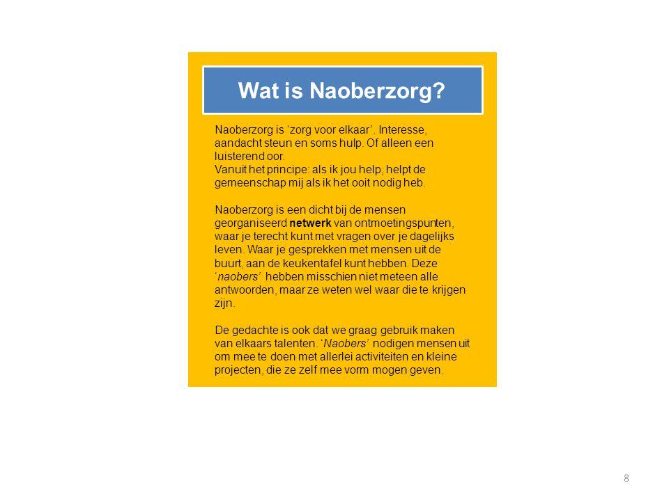 Wat is Naoberzorg Naoberzorg is 'zorg voor elkaar'. Interesse, aandacht steun en soms hulp. Of alleen een luisterend oor.