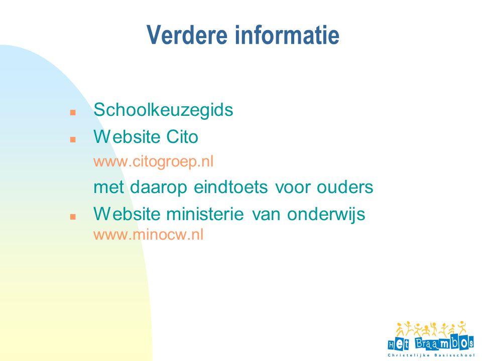Verdere informatie Schoolkeuzegids Website Cito