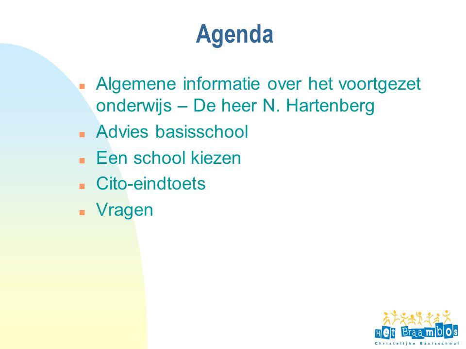 4-4-2017 Agenda. Algemene informatie over het voortgezet onderwijs – De heer N. Hartenberg. Advies basisschool.