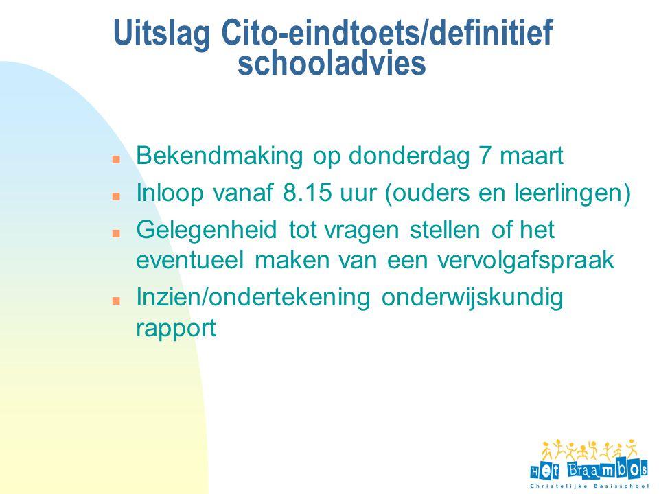 Uitslag Cito-eindtoets/definitief schooladvies