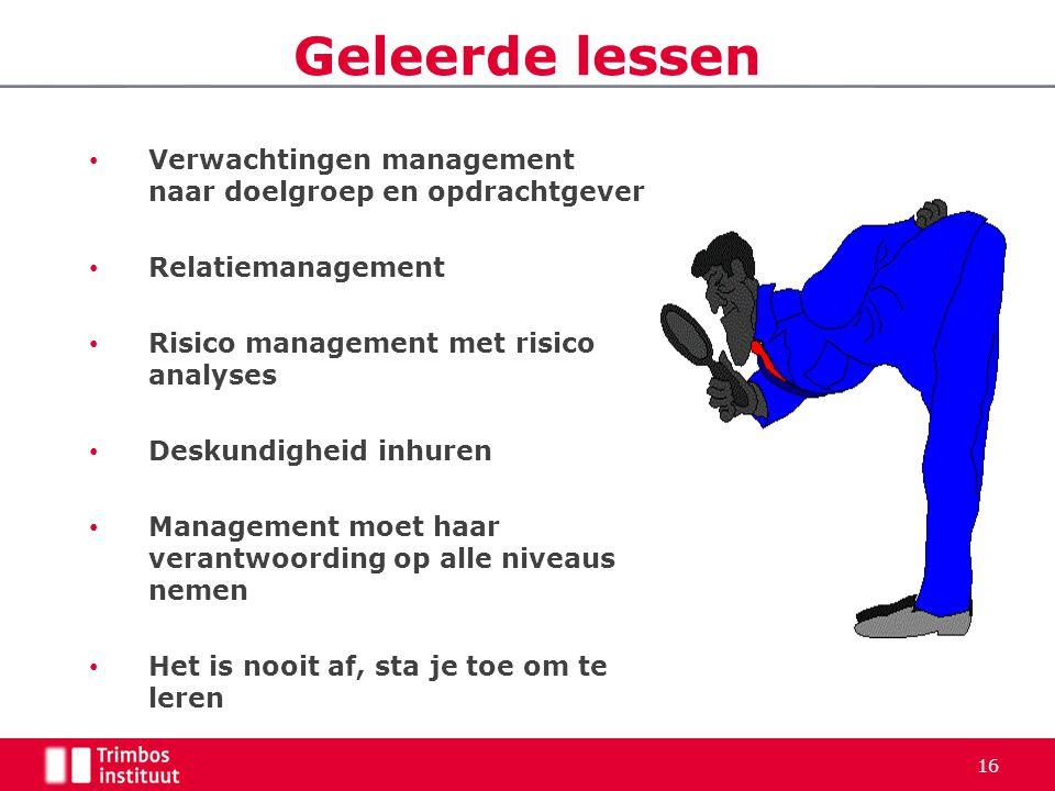 Geleerde lessen Verwachtingen management naar doelgroep en opdrachtgever. Relatiemanagement. Risico management met risico analyses.