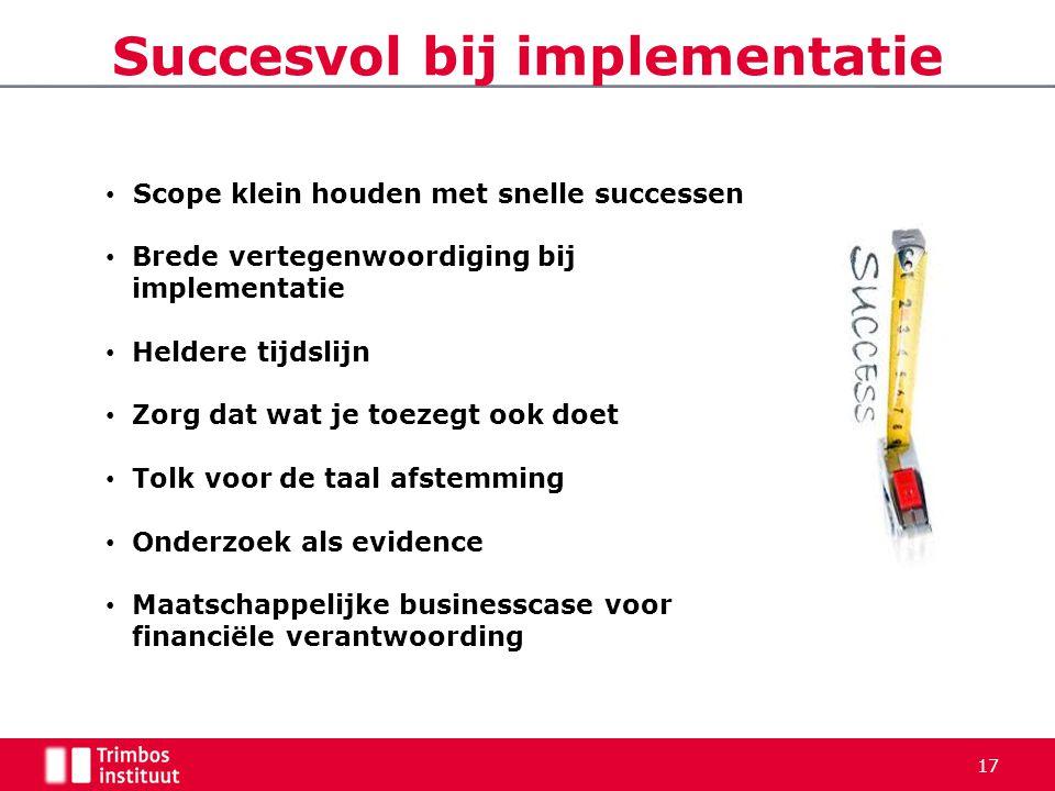 Succesvol bij implementatie