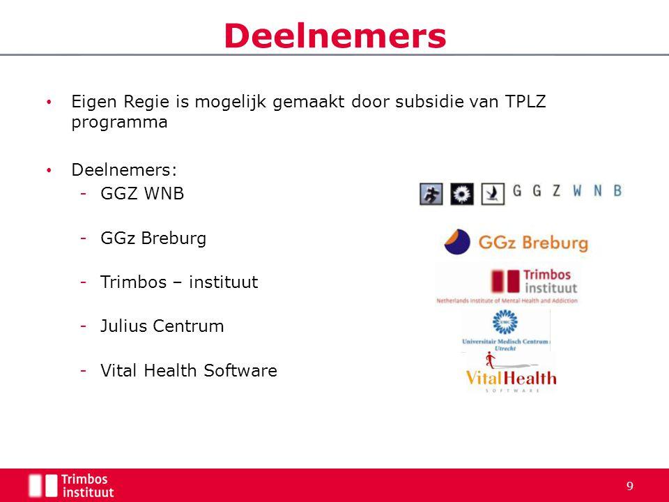 Deelnemers Eigen Regie is mogelijk gemaakt door subsidie van TPLZ programma. Deelnemers: GGZ WNB.