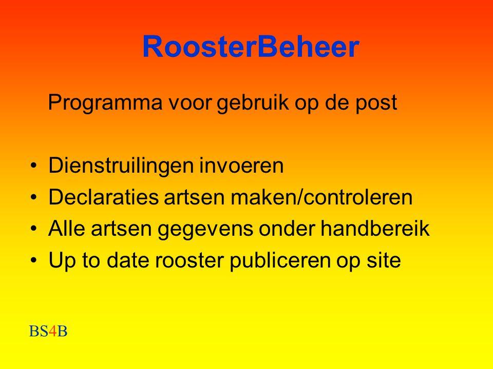 RoosterBeheer Programma voor gebruik op de post