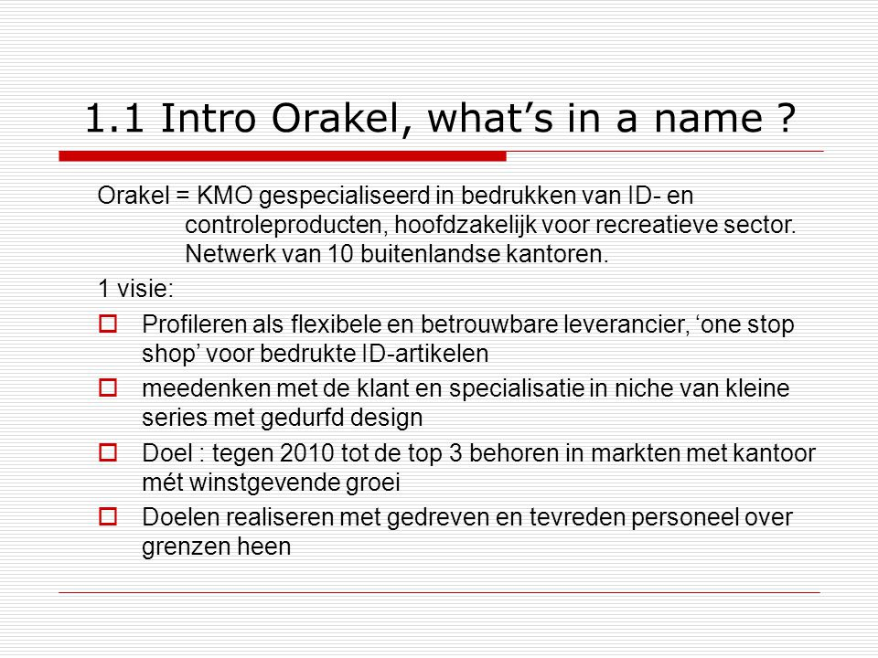 1.1 Intro Orakel, what's in a name
