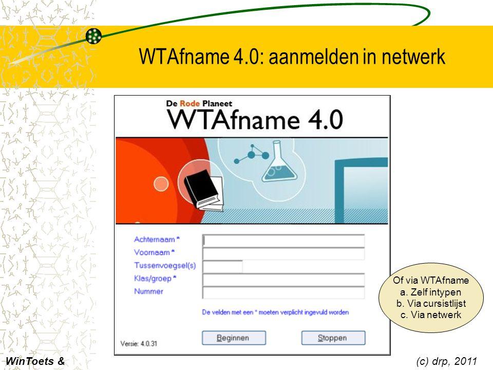 WTAfname 4.0: aanmelden in netwerk
