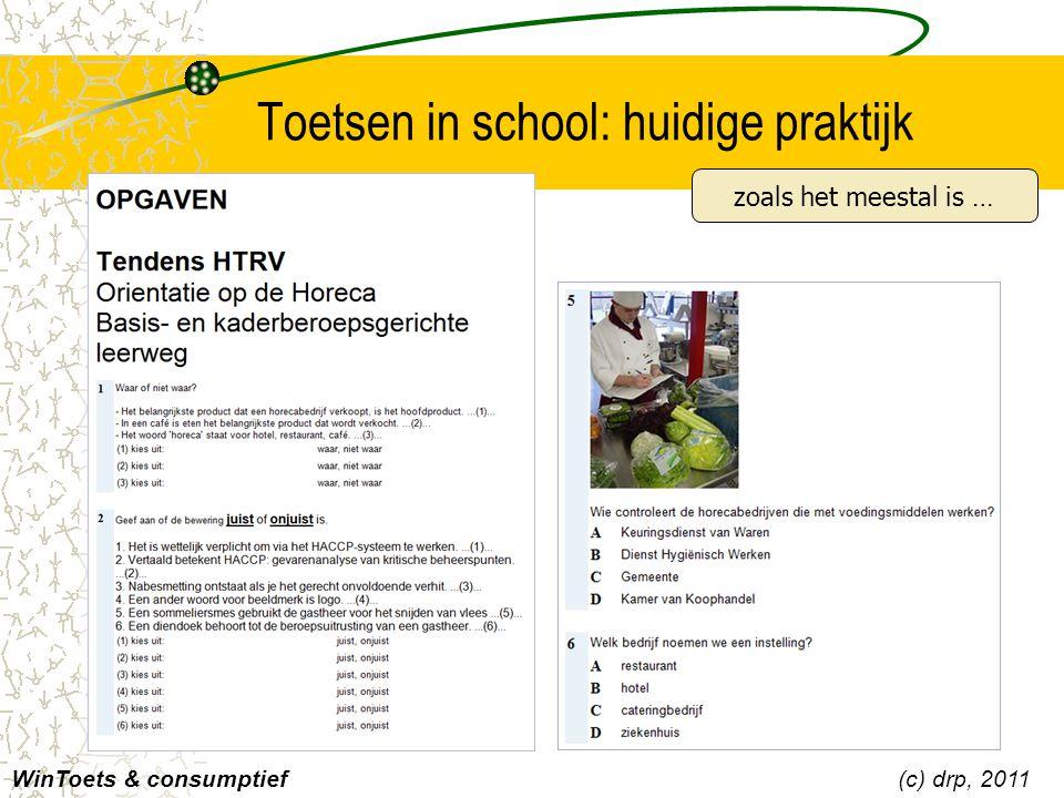 Toetsen in school: huidige praktijk