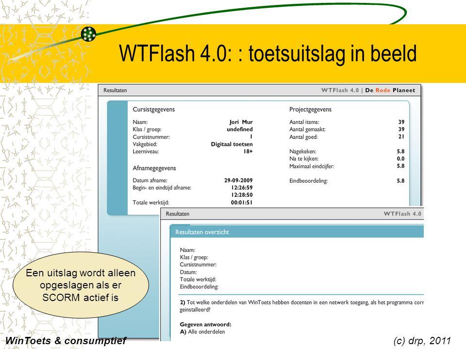 WTFlash 4.0: : toetsuitslag in beeld